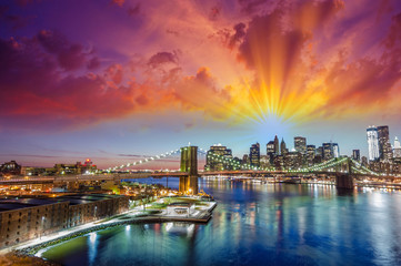 Wonderful sunset colors over New York Cityscape