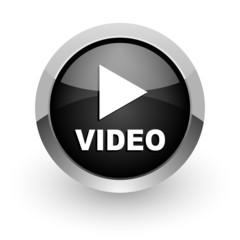 video black chrome glossy web icon