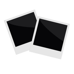 Two isolated instant photo in flat design style. Template.