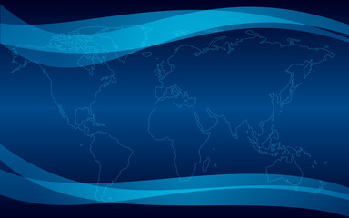 dark blue vector background with map
