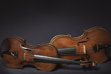 Beautiful violins in darkness