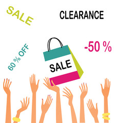 Female hands with sale symbols