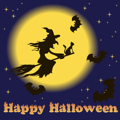 Illustration of Halloween. Witch on a broomstick and bats.