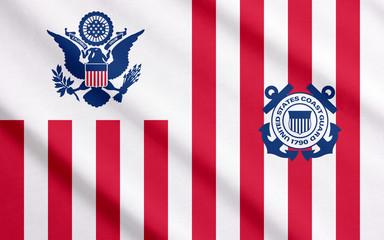 US Coast Guard ensign waving