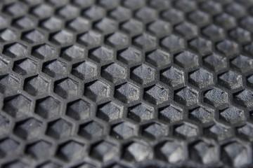hexagon Texture of black rubber.
