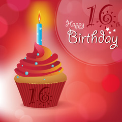 Happy 16th Birthday message -Bokeh Vector -cupcake & candle