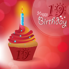Happy 19th Birthday message -Bokeh Vector -cupcake & candle