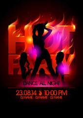 Fiery hot party design with girls.