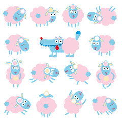 Cute cartoon sheep end wolf in vector
