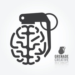 Vector brain distortion from grenade concept engine of idea.desi