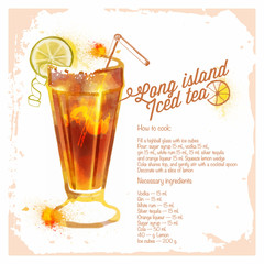 Сocktails Long island iced tea. Menu drawn watercolor.