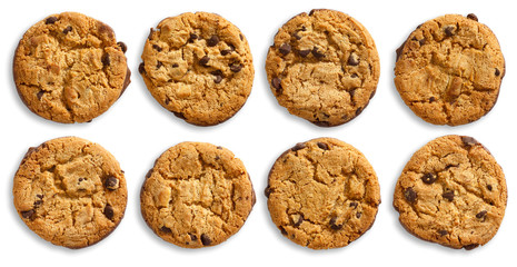 Collection of chocolate chip cookies isolated from above.