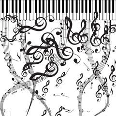 Vector Piano Keys with Musical Symbols