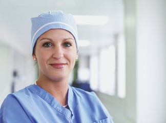 Female surgeon posing