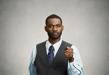 You get zero, nothing gesture. Businessman on grey background