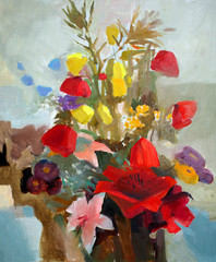 Oil painting of the beautiful flowers.
