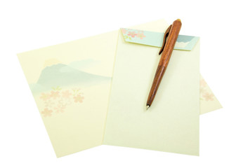 Fuji Mount pattern on letter paper and envelope with wood pen on