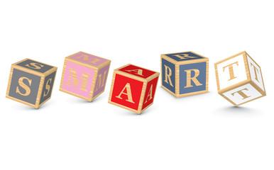 Word SMART written with alphabet blocks