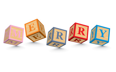 Word MERRY written with alphabet blocks