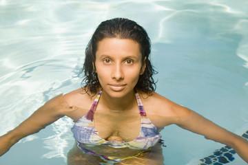 Indian woman in swimming pool