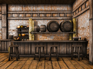 Drewniana lada i stołki w średniowiecznej tawernie