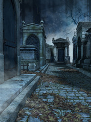 Aleja na starym gotyckim cmentarzu nocą