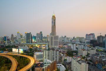 Bangkok Cityscape at twilight with main traffic