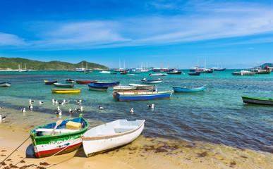 Boats on the beach in Buzios, Rio de Janeiro. Brazil