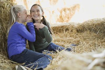 Two girls sitting in hay telling secrets