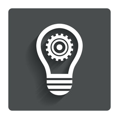 Light lamp sign icon. Bulb with gear symbol.