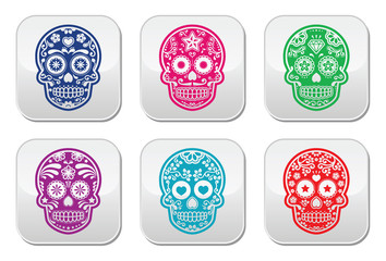 Mexican sugar skull, Dia de los Muertos colorful buttons set