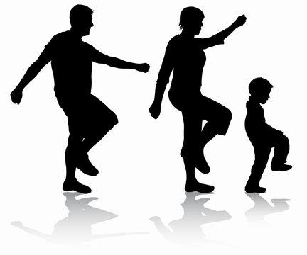 Family walking silhouettes