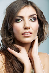Woman face close up beauty portrait. Female model isolated.