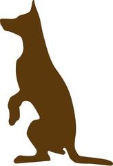Illustration of Sketched German Shepherd brown silhouette isolat