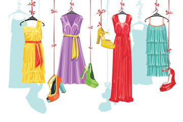 Dress and shoes.Fashion Illustration
