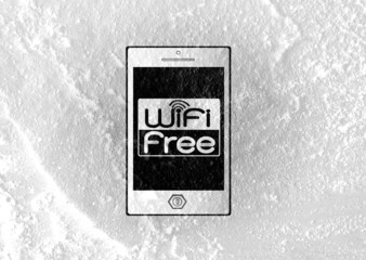 Smart Phone with wifi on wall texture background