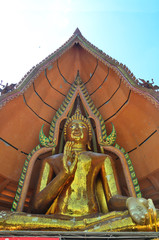 Big golden buddha statue in Wat Tham Sua or Tiger Cave Temple