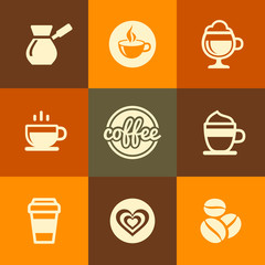 Coffee Icons Set in Flat Design Color Style. Vector