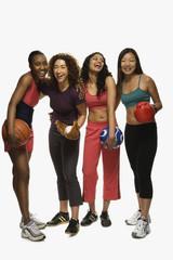 Multi-ethnic women in athletic gear