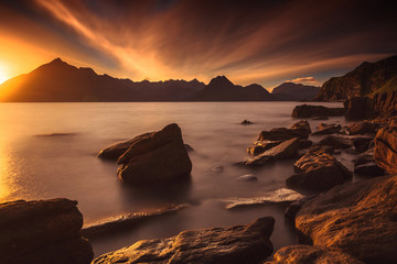 Canvas Prints Cappuccino Sunset at the Elgol beach