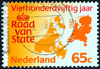 Council of State Emblem and Maps (Netherlands 1981)