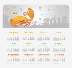 Calendar 2015 year with crab