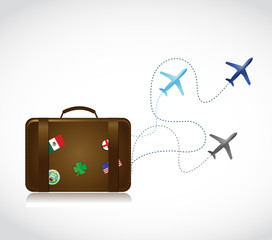 travel suitcase and airplane routes illustration
