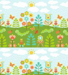 Floral background with cute ladybirds