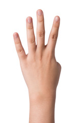 Female hand  isolated on white ,number four sign