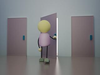 3D Character Opens The Door