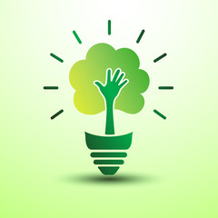 Ecology idea green bulb with hand tree vector illustration