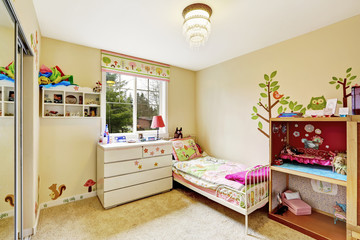 Kids room interior in soft ivory