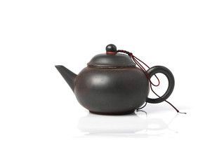 Black Purple Chinese TeaPot isolated on white