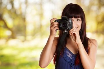 hübsche Frau fotografiert